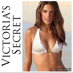 Victoria secret gold star white bikini top large